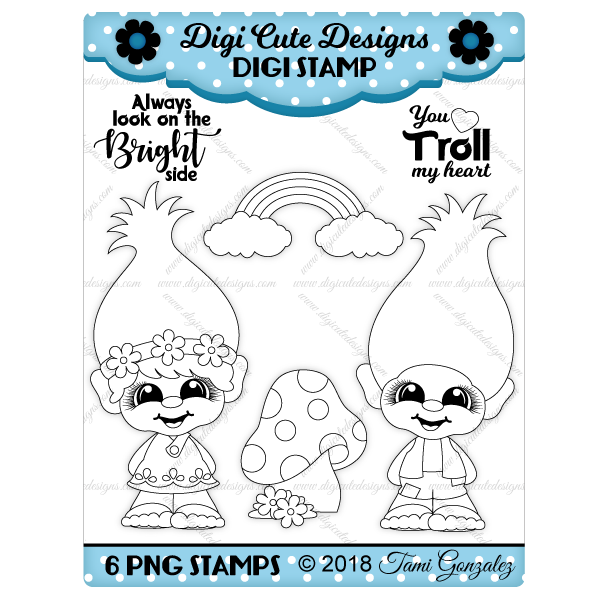 Troll Cuties Digi Stamp-trolls, poppy, branch, mushroom, rainbow, flowers