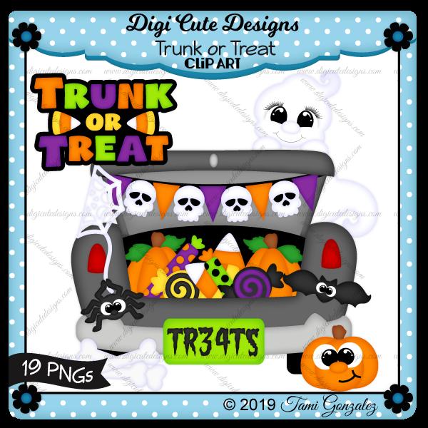Trunk or Treat Clip Art-Halloween, skull, car, banner, pumpkin, ghost, spider web, spider, bat, bones, candy