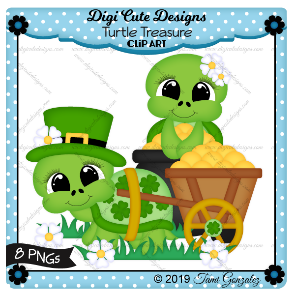 Turtle Treasure Clip Art-St Patricks Day, St Patty, clover, shamrock, flower, grass, turtle, wagon, cart, gold, pot, cauldron, hat