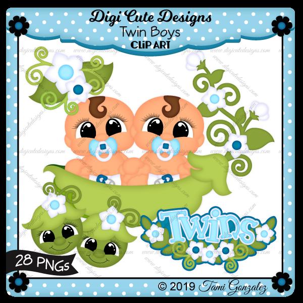 Twin Boys Clip Art-baby, pea pod, flower, boy, twins, safety pin