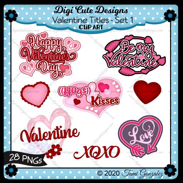 Valentine Titles - Set 1 Clip Art-love, arrow, heart, flower