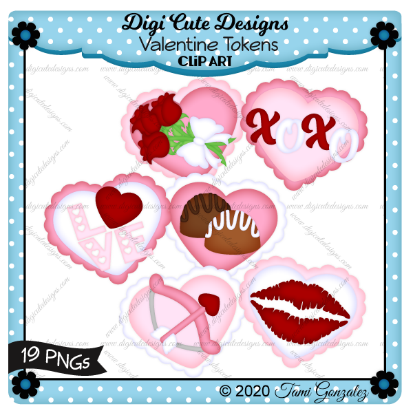 Valentine Tokens Clip Art-love, candy, chocolate, lips, kiss, roses, flower, heart, bow, arrow