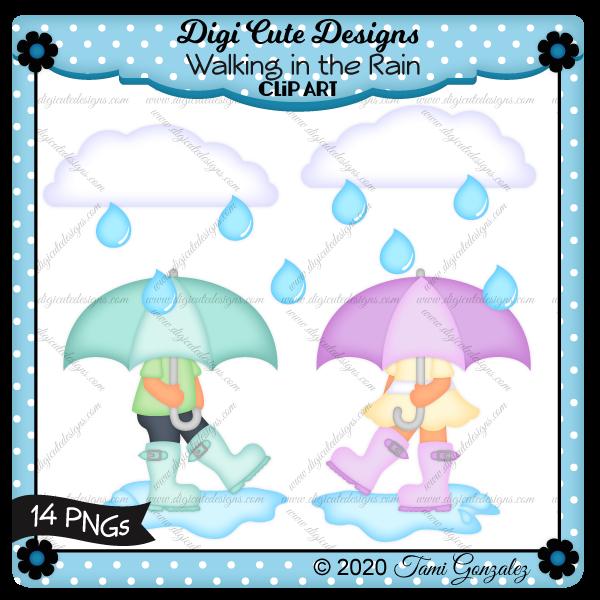 Walking in the Rain Clip Art-spring, cloud, raindrop, puddle, water, umbrella, rain boots, boy, girl