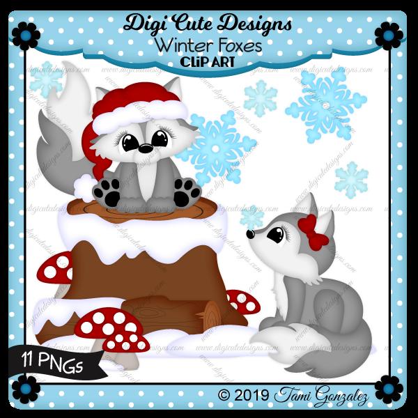 Winter Foxes Clip Art-winter, christmas, snow, log, tree stump, snowflake, bow, santa hat