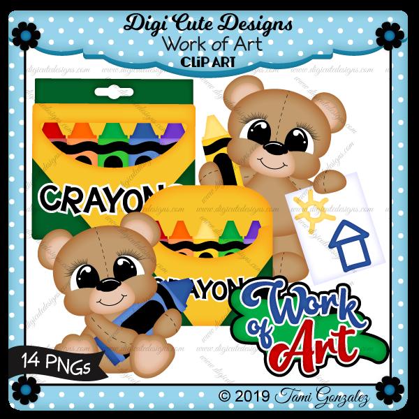 Work of Art Clip Art-school, crayon, color, picture, bear