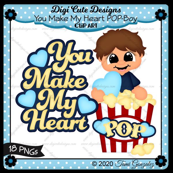 You Make My Heart POP - Boy Clip Art-valentines day, love, heart, popcorn