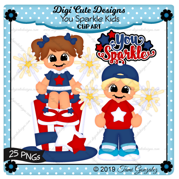 You Sparkle Kids Clip Art-4th of July, Independence Day, fireworks, sparklers, boy, girl, hat, stars